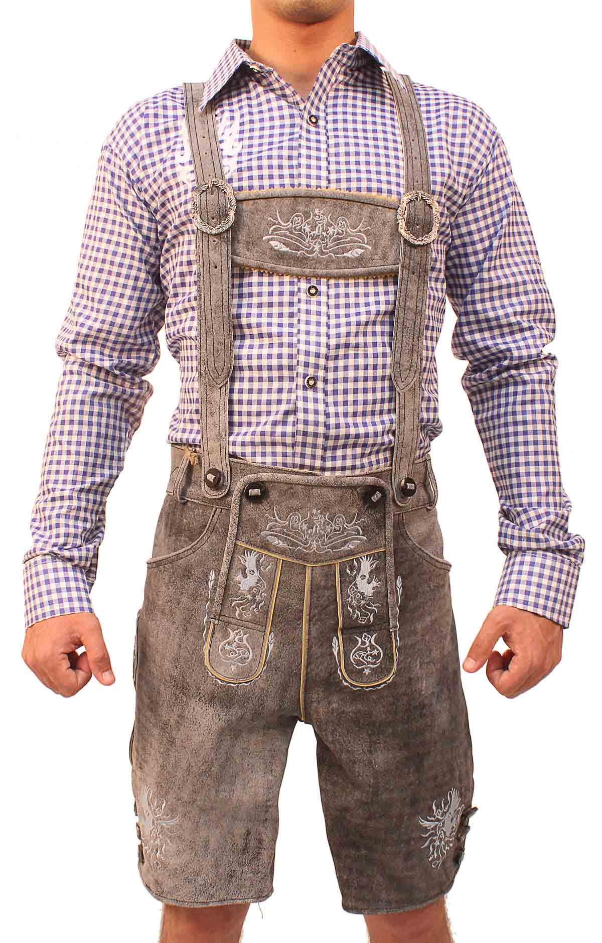 9222b95b27 Traditional German Lederhosen Gray Slate - Lederhosen Store