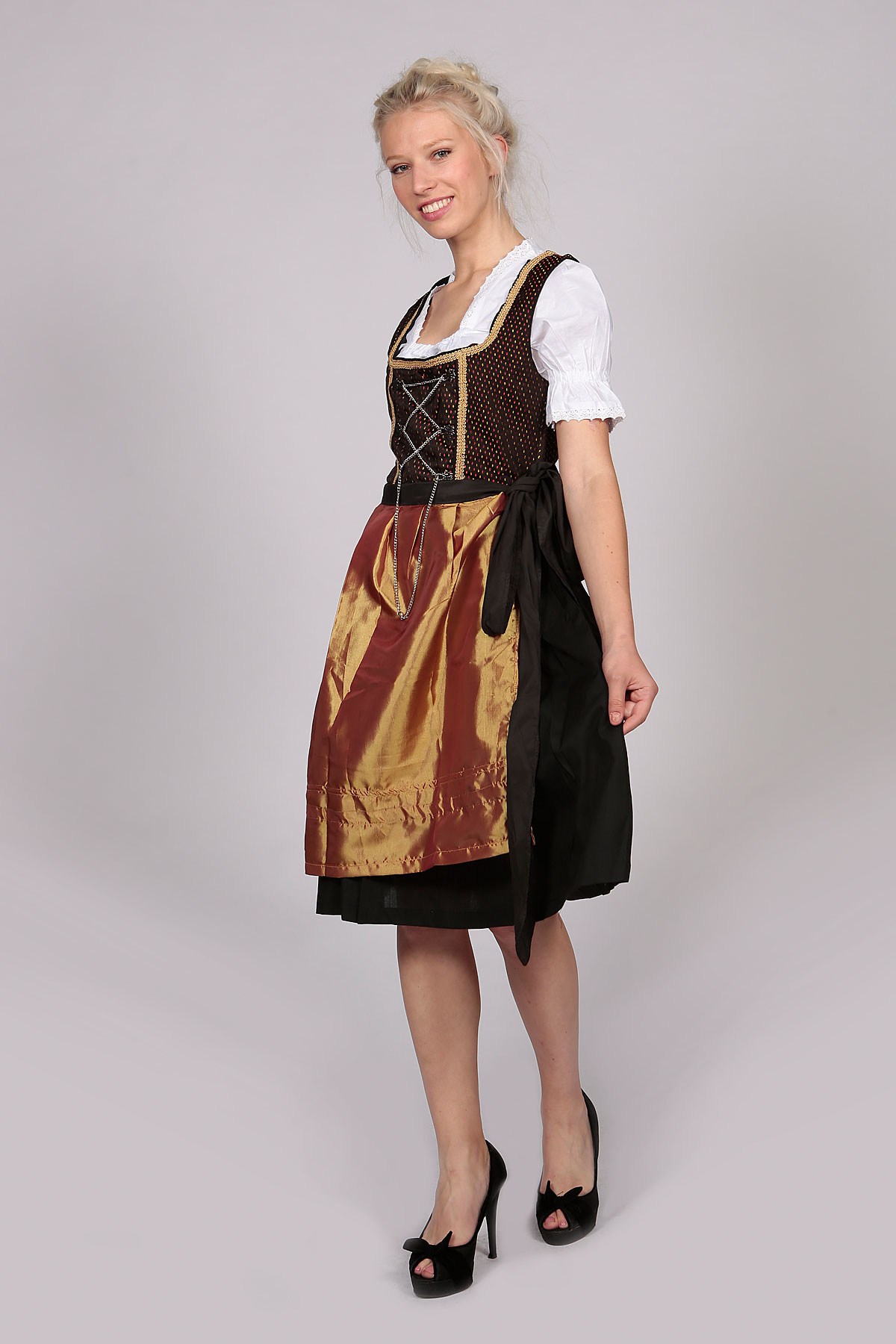 Vintage Amara Midi Dirndl Dress Black Gold Lederhosen Store