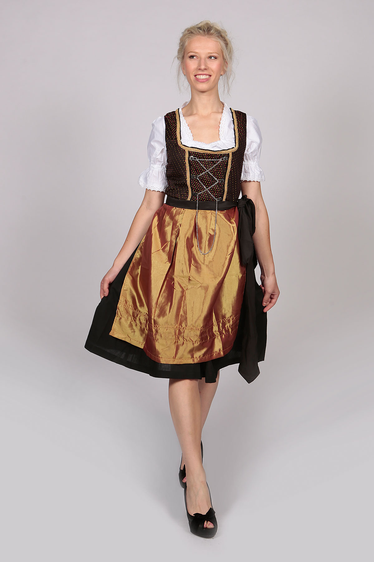 Vintage Amara Midi Dirndl Dress Black Gold - Lederhosen Store