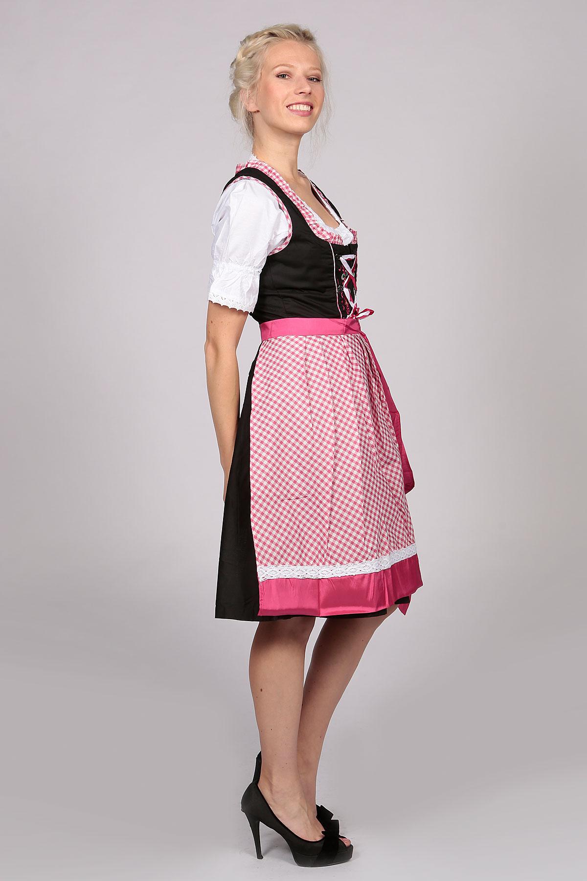 German Dirndl Dress Amara Black Pink Lederhosen Store