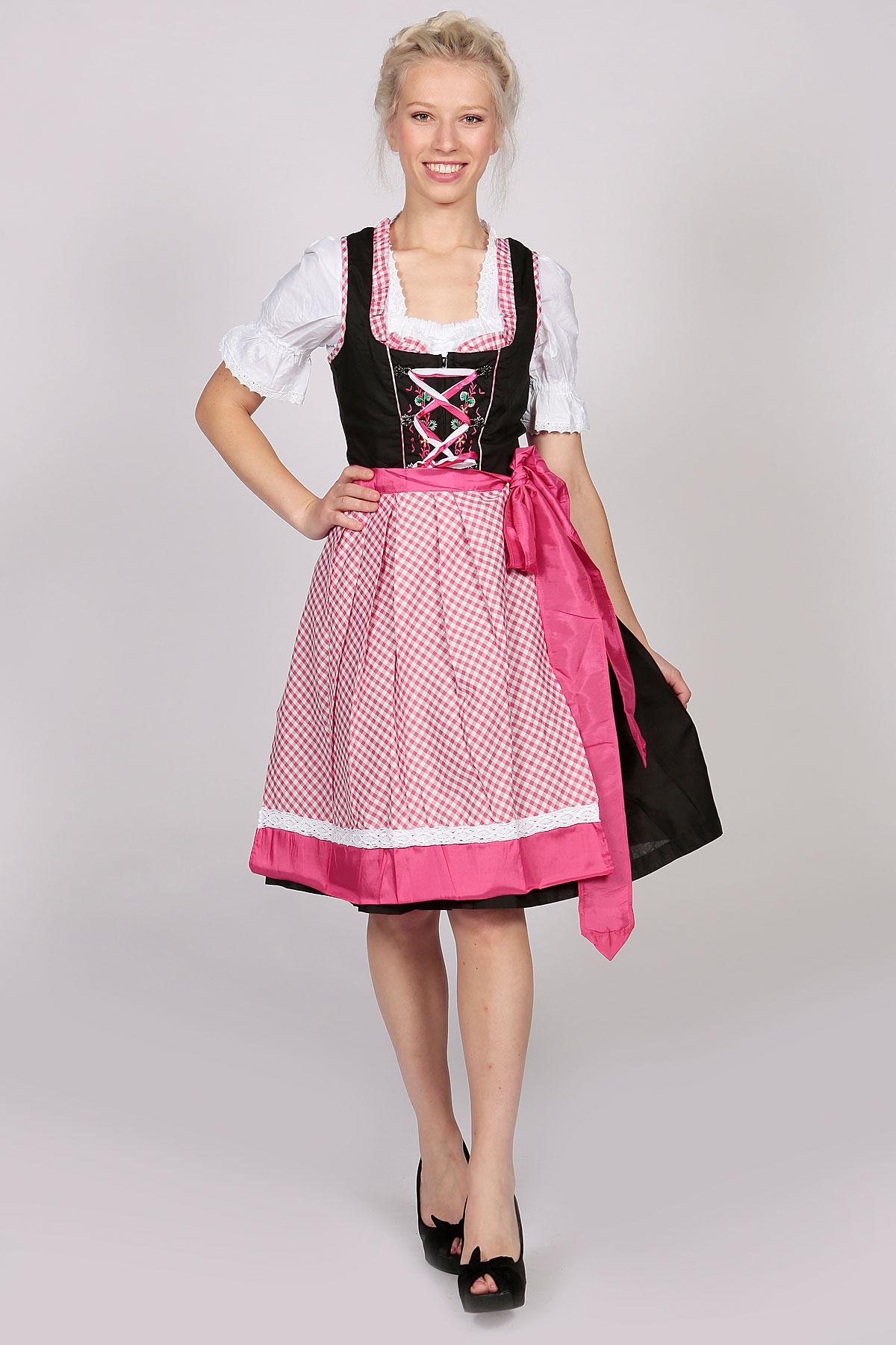 German Dirndl Dress Amara Black Pink - Lederhosen Store