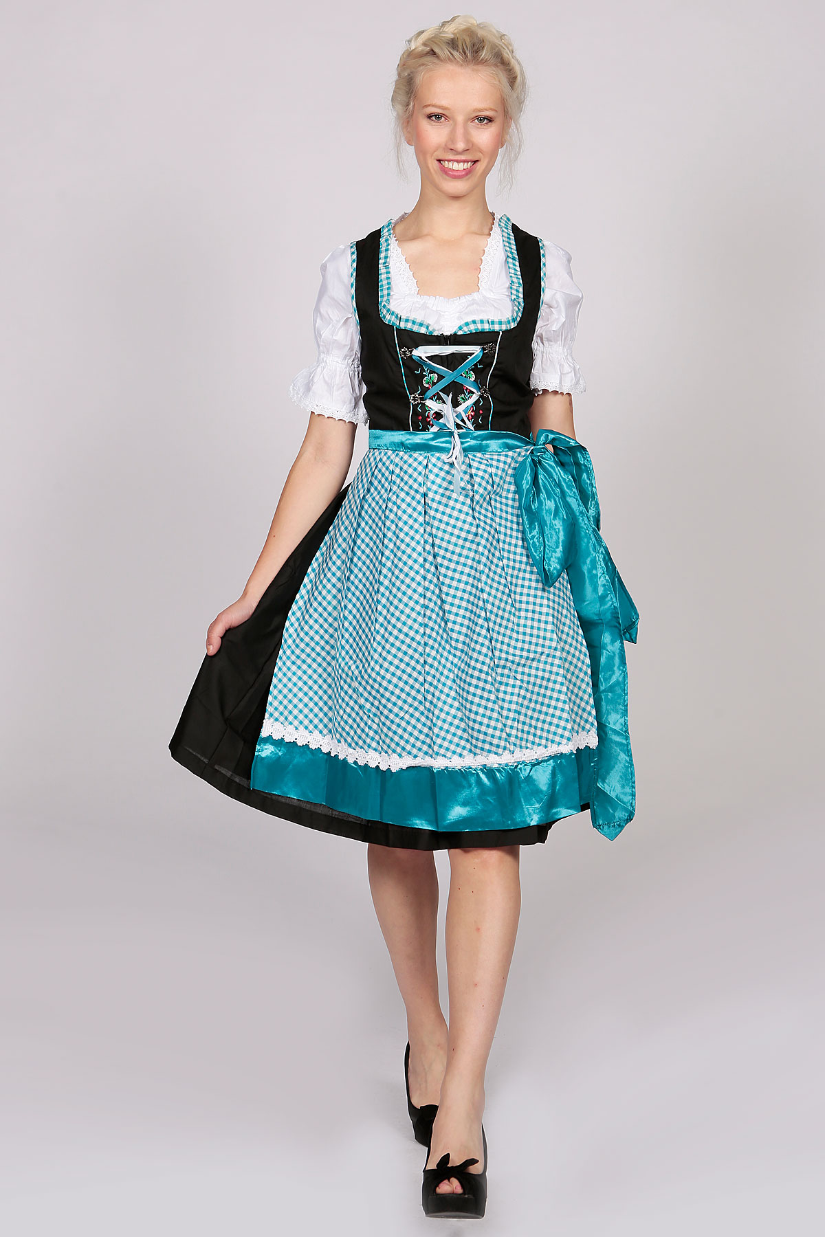 german dirndl dress amara black blue lederhosen store. Black Bedroom Furniture Sets. Home Design Ideas