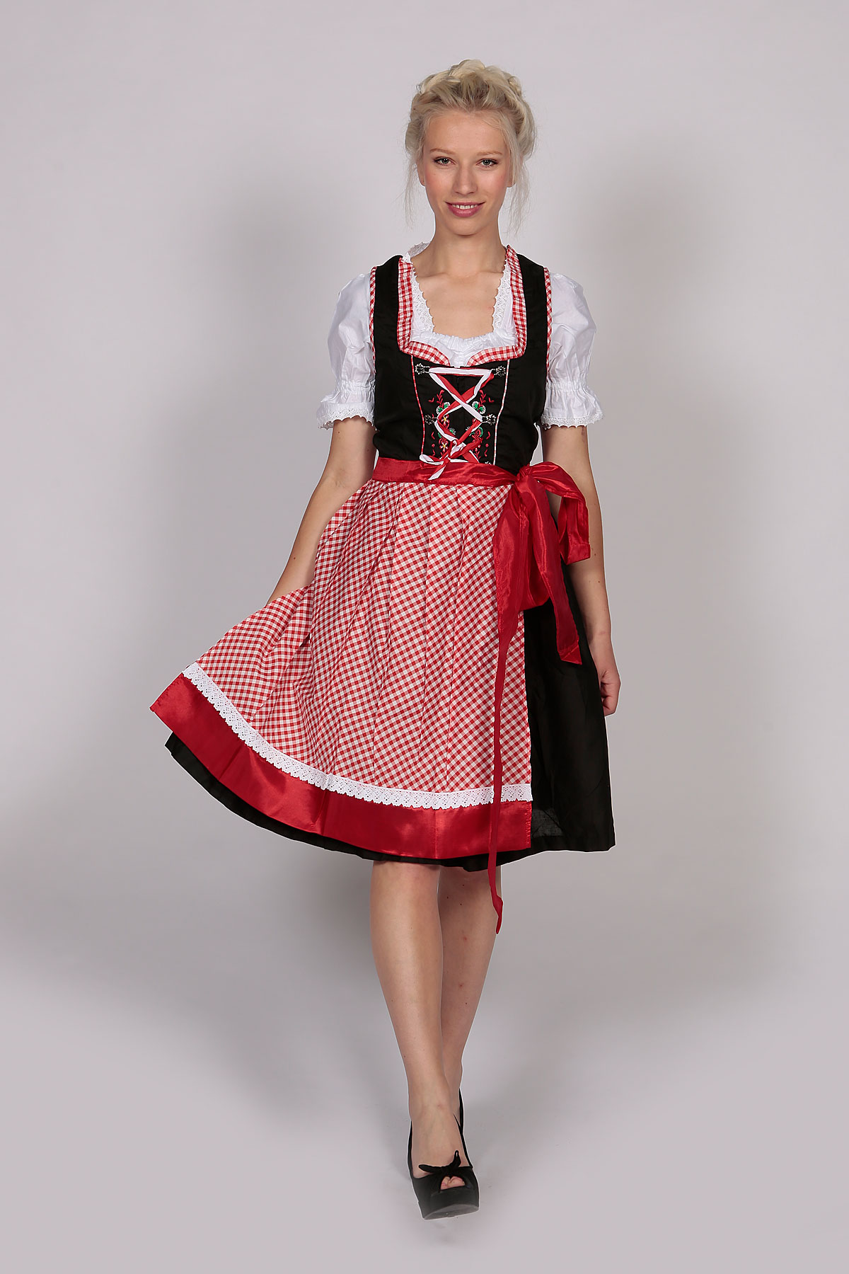 German Dirndl Dress Amara Black Red - Lederhosen Store