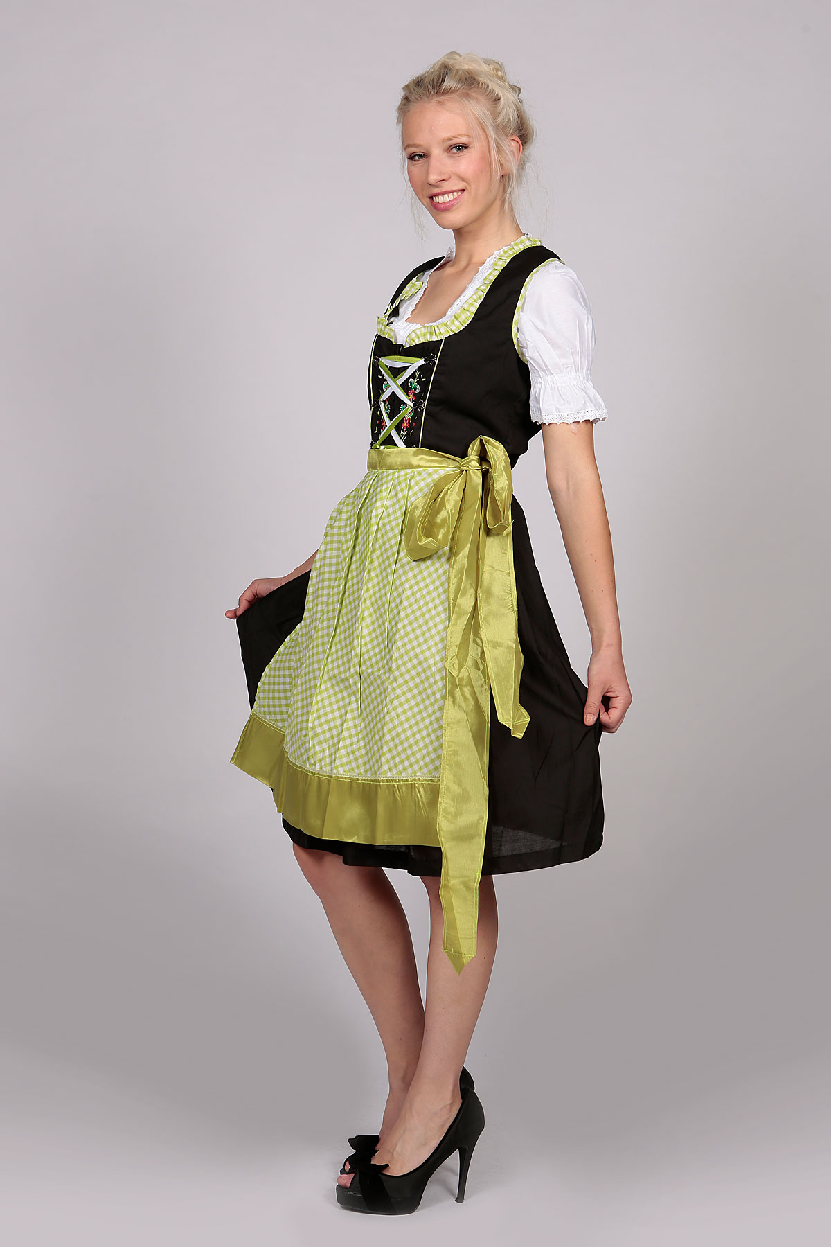 German Dirndl Dress Amara Black Green Lederhosen Store