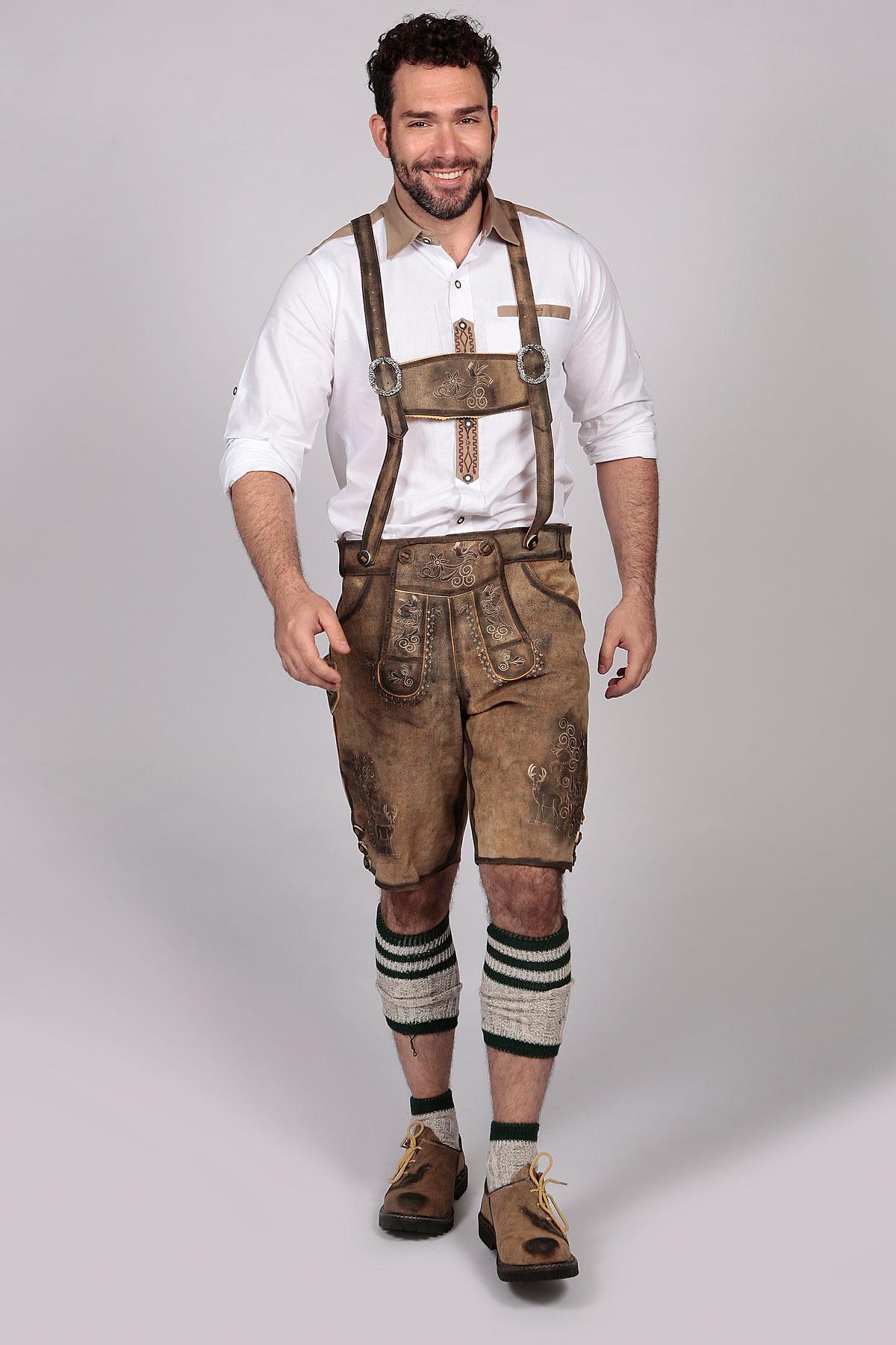 the latest f864d 1796a Trachten Short Lederhosen Real Shaded Brown
