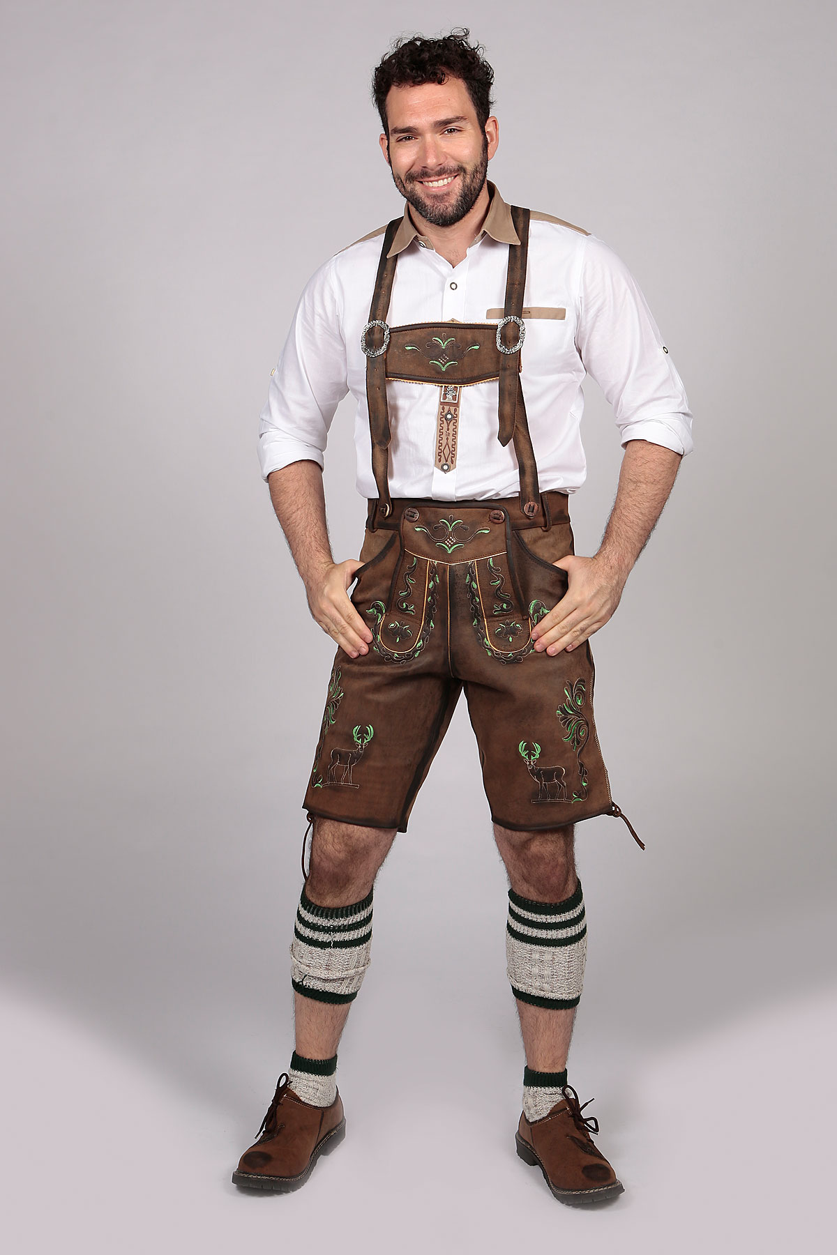 Men/'s Brown Genuine Leather Trachten Bavarian Oktoberfest Lederhosen Shorts
