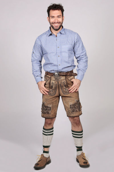 Blue Lederhosen Shirt German Oktoberfest Checkered