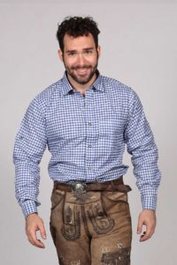 M-SRT-02 - Blue Lederhosen Shirt German Oktoberfest Checkered