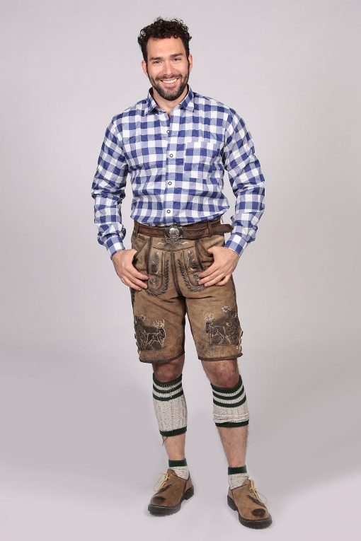 Blue Cobolt Lederhosen Shirt Checkered