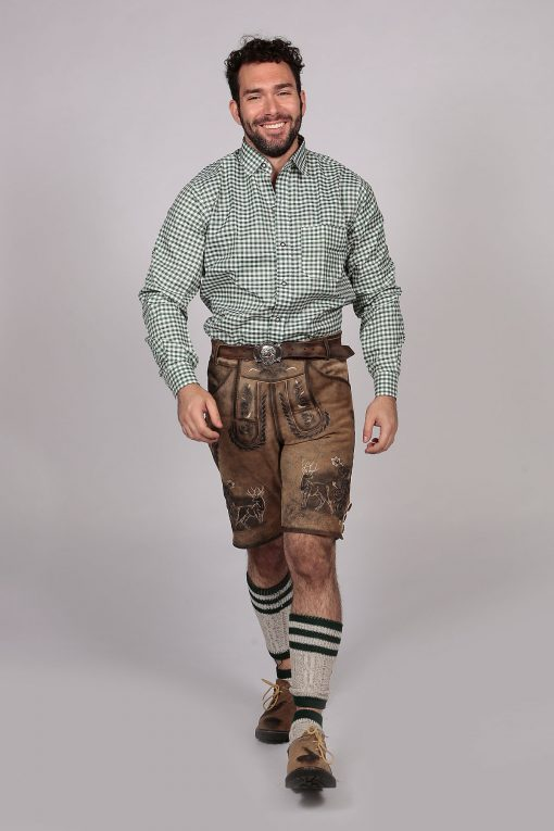 Green Checkered Lederhosen Oktoberfeest Shirt