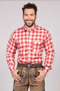 Big Checkered Shirt Red Lederhosen Oktoberfest