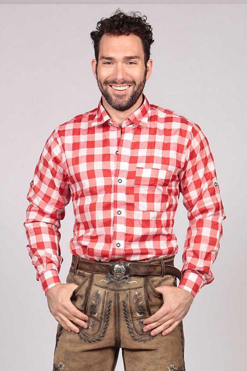 Big Checkered Shirt Red Lederhosen Oktoberfest
