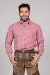 M-SRT-06 - Red Lederhosen Shirt Checkered Bavarian Oktoberfest