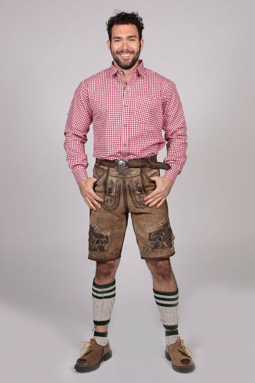 M-SRT-06-2 - Red Checkered Lederhosen Shirt Oktoberfest