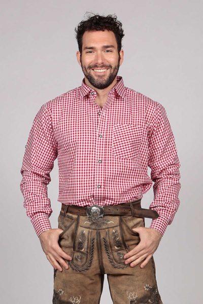 M-SRT-06 - Red Lederhosen Shirt Checkered Bavarian Oktoberfest